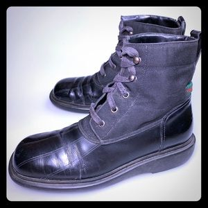 5408c8177 GUCCI Combat Boots Leather Lace Up Flat Italy 7.5B